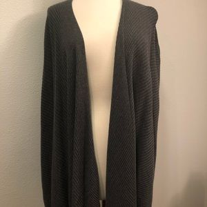 Eileen Fisher Gray Ribbed Waterfall Cardigan L